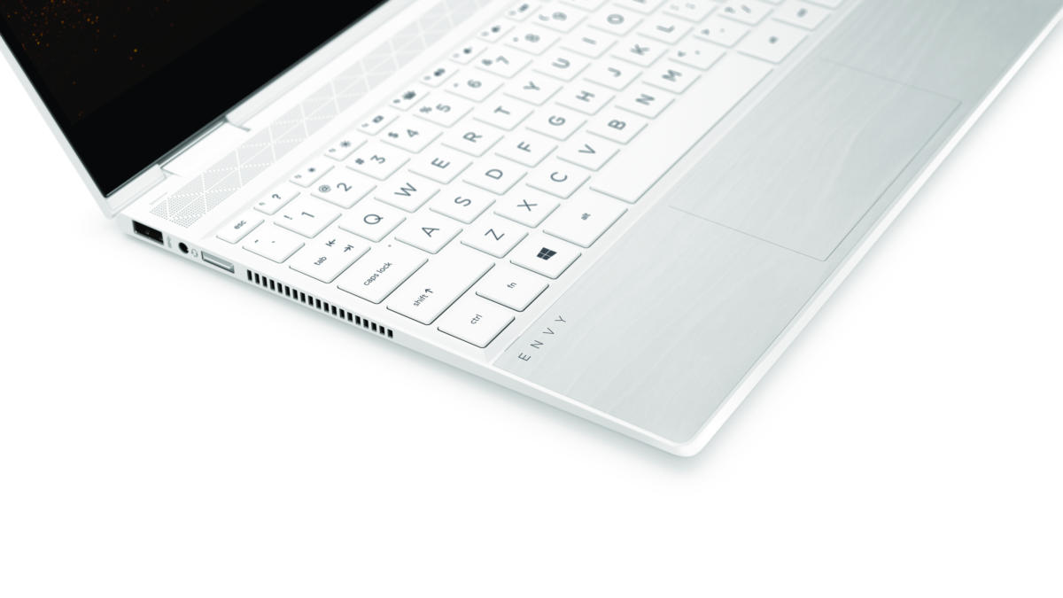 hp envy x360 13 and 15 in ceramicwhite deck close up