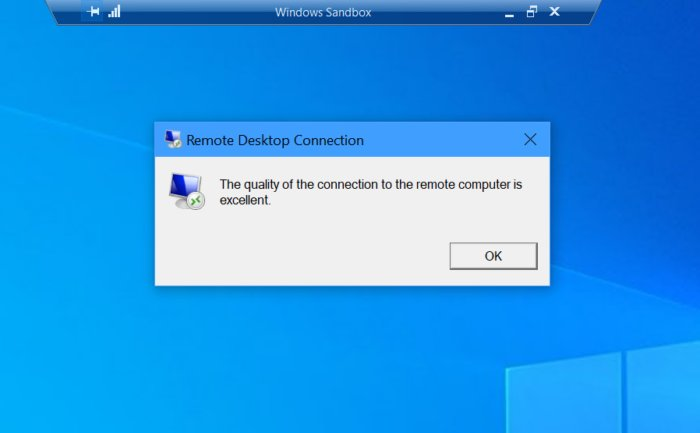 Microsoft windows sandbox remote connection