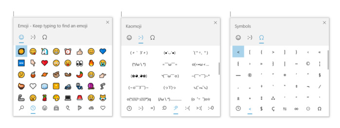 Microsoft Windows 10 insider Build 18305 kaomoji
