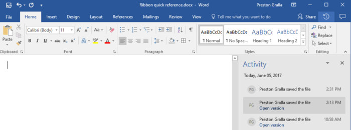 Microsoft Word 2016 - Activity pane