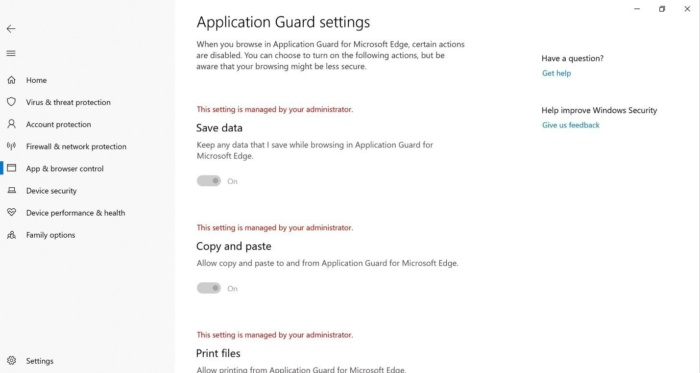 Microsoft wdag settings