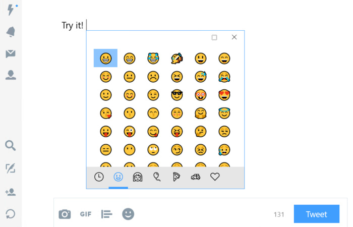 Windows 10 16215 hardware keyboard emoji
