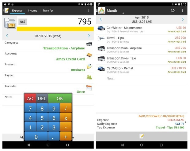 expense apps andromoney ss