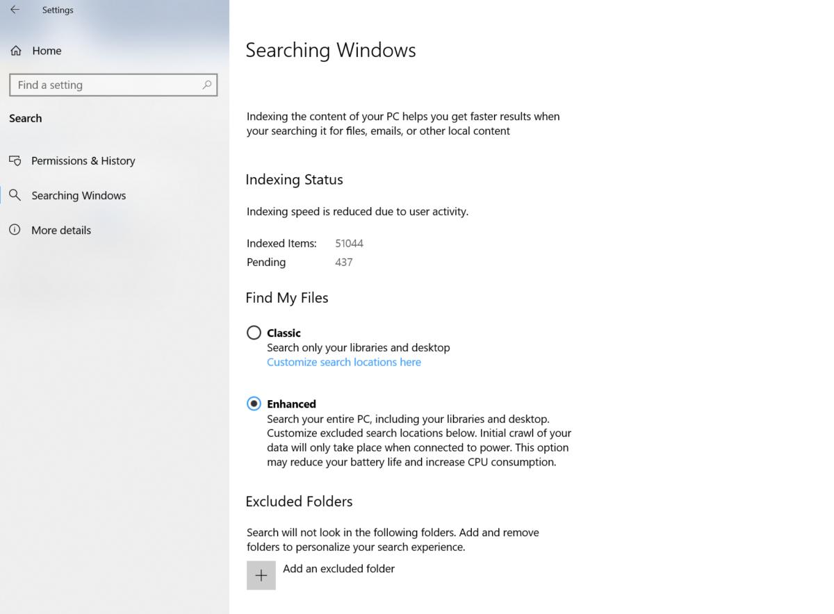 Windows 10 April 2019 Update search indexer setting