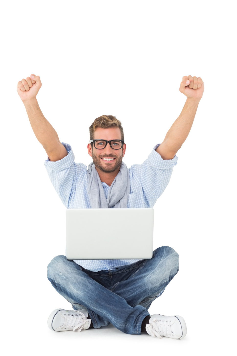 really happy guy sitting with laptop on lap