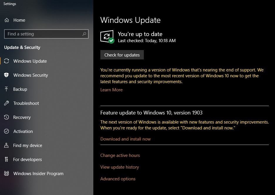 win10 update 1803 dain