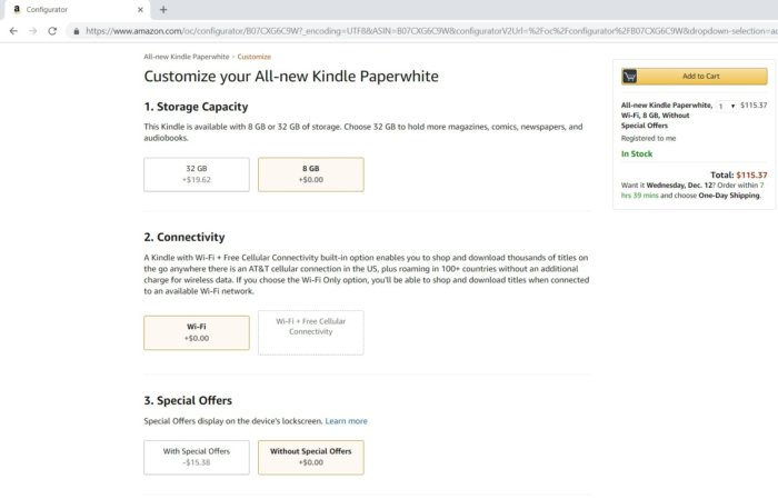 amazon kindle paperwhite without special offers