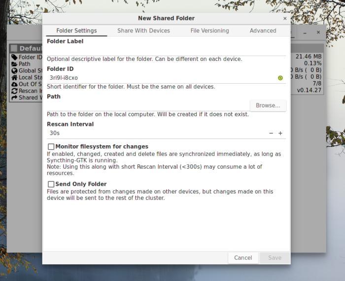 syncthing linux add folder