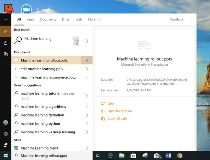 Windows 10 October 2018 Update search preview
