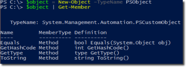 $object = New-Object –TypeName PSObject