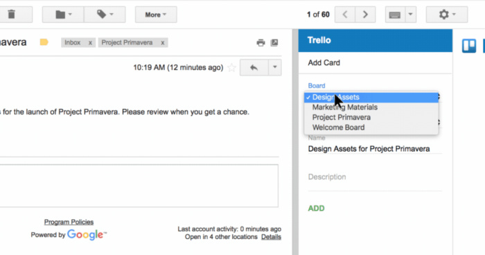 Google's Gmail and Trello.