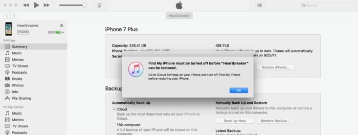 find my phone and itunes