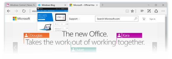 Microsoft Edge tab preview