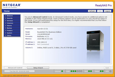 Netgear ReadyNAS Pro Web-based interface