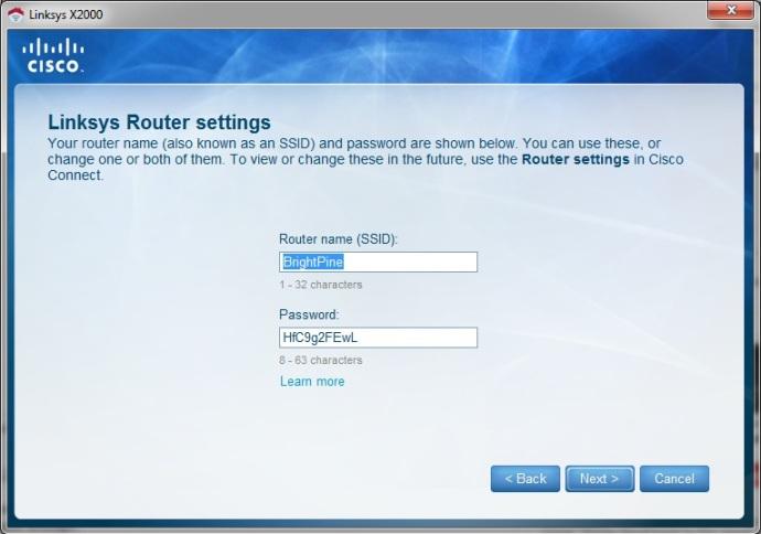Linksys X2000 modem-router Wi-Fi setup