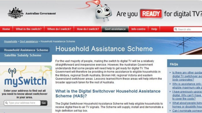 Digital TV switchover Household Assistance Scheme