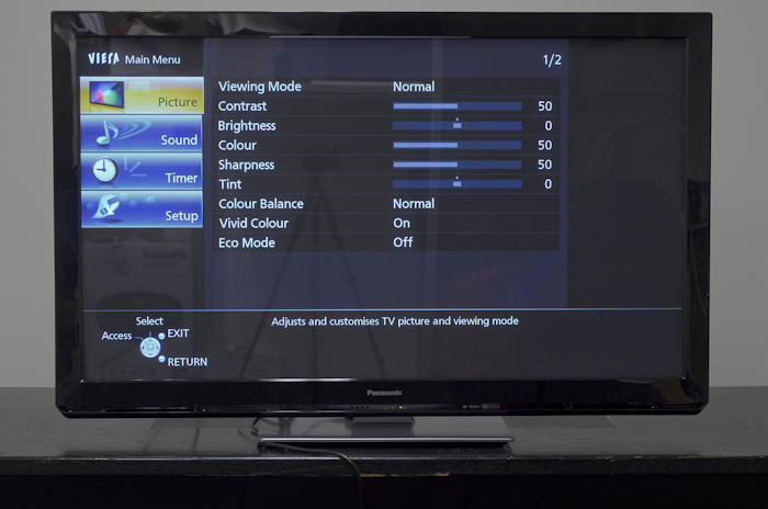 Panasonic VIERA UT30 picture menu