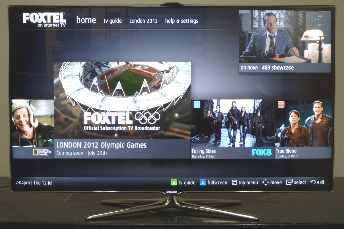 Samsung Foxtel on Internet TV main screen